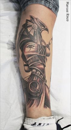 Forarm Tattoos, Leg Tattoos, Body Art Tattoos, Sleeve Tattoos, African Sleeve Tattoo, Egyptian Tattoo Sleeve, Horus Tattoo, Anubis Tattoo, Calf Tattoo