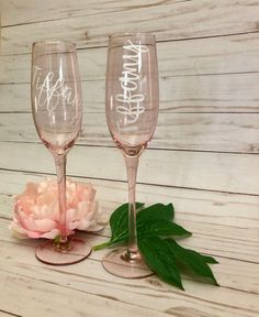 Personalized PINK Champagne Flute for Wedding Party Bride | Etsy