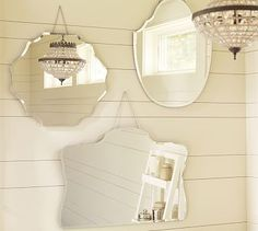 On my wish list for hanging in the entryway hallway: Pottery Barn - Piper Frameless Mirrors - Unique shapes; mirrors create the illusion of more space ;)