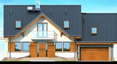 Elewacja DN KARMELITA GOLD 2M CE Home Fashion, House Plans, House Design, Cabin, Mansions, House Styles, Outdoor Decor, Gold, Thailand