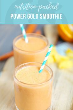 Power Gold Smoothie - Best of Super Healthy Kids - Breakfast Smoothie Smoothies For Kids, Yummy Smoothies, Smoothie Recipes, Breakfast Smoothies, Smoothie Menu, Toddler Smoothies, Carrot Smoothie, Power Smoothie, Vitamix Recipes