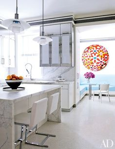 Adding color to the kitchen by a colorful graphic window shade.