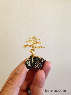 Gold wire bonsai tree on rock by Ken To by KenToArt.deviantart.com on @deviantART
