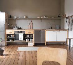 Tour the Hygge Home of Swantje Hinrichsen Grey Kitchen Designs, Interior Design Kitchen, Kitchen Decor, Black Kitchens, Home Kitchens, Apartment Kitchen, Studio Apartment, Apartment Ideas, Open Kitchen