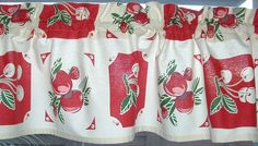 Valance Vintage look NEW Curtain Cotton 52 x 13  Retro KITCHEN Apples and Cherries 1940s Tablecloth Look Print Blue, Red or Yellow by AVintageLook on Etsy https://www.etsy.com/listing/121517780/valance-vintage-look-new-curtain-cotton