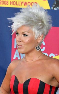 Edgy & so right for her. 20 Short Hair Color Suggestions Platinum Silver Spiked Exciting Look Read more http://www.heygirl.net/women-hairstyles/20-short-hair-color-suggestions/
