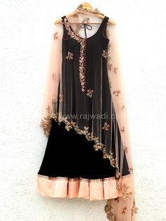 Black Anarkali Suit with cape style Dupatta by Designer Anisha Shetty #rajwadi #labelanishashetty #bridalwear #indianwear #indianbrides #couture #designerwear #trousseau #weddingwear