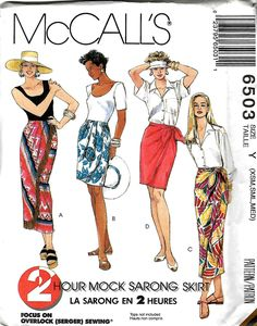 Misses 2 Hour Mock Sarong Skirt Pattern, McCall's 6503, Size XS-M UNCUT by DawnsDesignBoutique on Etsy