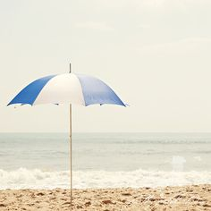 Fine Art Photograph, Blue and White Beach Umbrella, Summertime, Virginia Beach, Ocean, Sand, Waves, Teal Tones, Square 12x12 Print