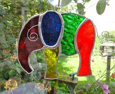 Stained Glass Elephant Suncatcher - Multi Coloured