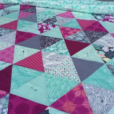Riley's Quilt - love these colors and triangles
