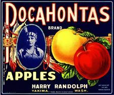Yakima Washington State Pocahontas Apple Fruit Crate Label Vintage Art Print