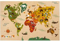 """Petit Collage """"My World"""" Jumbo Wood Panel. Image courtesy of Petit Collage. Ideas Dormitorios, Maps For Kids, For Elise, Smart Art, Wall Maps, Illustrations, Kid Spaces, Boy Room, Child's Room"""