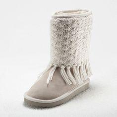 Braided Tassel Trim Snow Boots
