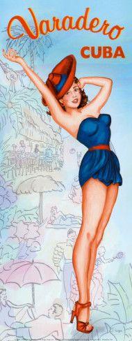 Varadero, Cuba. Vintage Travel Posters - Art Deco - Vintage Posters - Art Posters - Travel Posters.