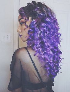 curls and purple hair image
