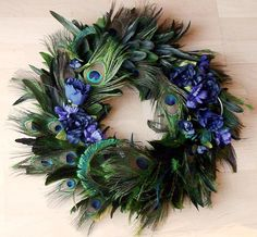 wreath with peacock feathers