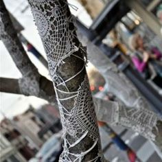 Crocheted trees in Gertrude Street, Melbourne