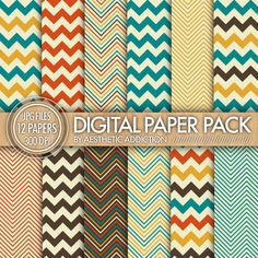 Chevron Digital Paper Pack // Orange Blue Yellow Brown Beige // Chevron Zig Zag Lines // Commercial Use // 12363. $3.25, via Etsy.