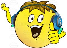 Enthusiastic, Cheering Yellow Smiley Face Emoticon With Arms, Brown Hair and Headphones #cheer #computer #emotion #encouragement #expression #exuberant #face #feeling #glee #icon #joy #lively #mood #optimism #PDF #smiley #vector-graphics #vectors #vectortoons #vectortoons.com #yell