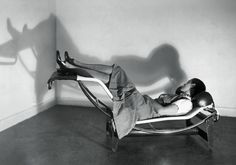 Charlotte Perriand, Paris, 1929 -That is the cutie herself chillin' in the iconic lounge chair she co-designed with Le Corbusier and Pierre Jeanneret.