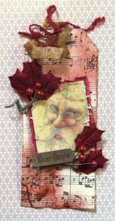 Swirlydoos 12 Days of Christmas ~~~ Day 1 ~~~ Dear Santa Tag Christmas Paper Crafts, Christmas Gift Tags, Xmas Cards, Christmas Projects, Primitive Christmas, Vintage Christmas, Handmade Tags, Paper Tags, Vintage Tags