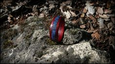 Bloodwood ring with lapis lazuli inlay.