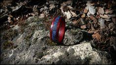 Bloodwood ring with lapis lazuli inlay.