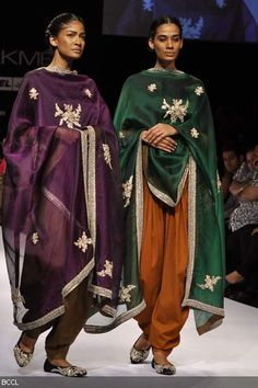 Simple Sabyasachi outfits....love the deep plum and green organza dupattas with the signature embroidery