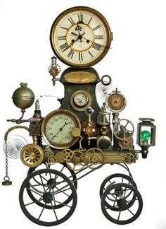 "Steampunk clock on wheels! Does that make it ""clockwork? Steampunk Shop, Steampunk Accessoires, Steampunk Clock, Steampunk Design, Steampunk Fashion, Steampunk Gadgets, Steampunk Makeup, Steampunk Emporium, Gothic Fashion"