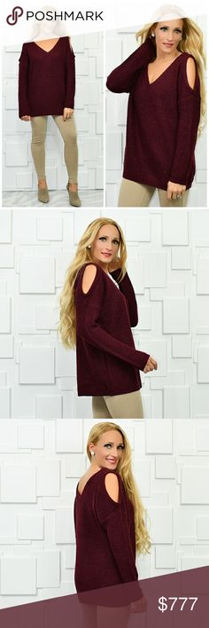 COZY BURGUNDY SWEATER Brand new Boutique item Price is firm  Perfect for cooler weather this burgundy knitted sweater features a fun cold shoulder detail. Pair with one of our fabulous faux fur vest and jeans for a complete look.  More colors are available  *Winter fall warm cozy casual . Sweaters V-Necks