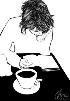 """bibliolectors: """"Café y lectura… nos espera un largo fin de semana con los libros (ilustración de Tidus) """""""