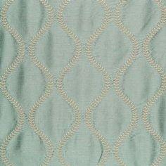 Schumacher Agadir Embroidery Aqua Fabric