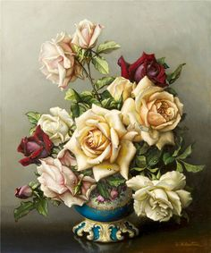 Irene Klestova ~ Still life painter Art Floral, Pictures To Paint, Botanical Prints, Beautiful Paintings, Vintage Flowers, Painting Inspiration, Flower Art, Still Life, Beautiful Flowers