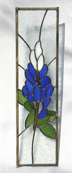 Custom Made Blue Bonnet Stained Glass Panel Cabinet Insert
