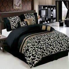 Egyptian Cotton Factory Outlet Store King Size Chandler Luxury Black and Gold Comforter Set (Includes White Sheet Set) Gold Comforter Set, Bedroom Comforter Sets, Luxury Comforter Sets, Gold Bedding, Black Comforter, Floral Comforter, Queen Bedding, Blue Bedding, King Comforter