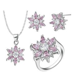 KnBoB Jewelry Sets Women Silver Plated Flower Pink Crystal CZ Ring Pendant Necklace Earrings Set >>> For more information, visit image link.-It is an affiliate link to Amazon. #JewelrySets