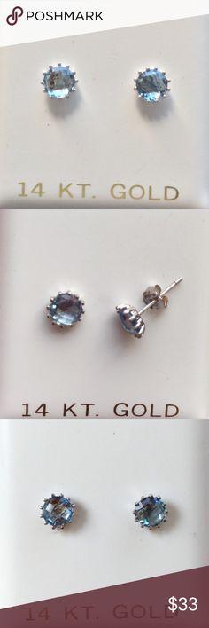 14k White Gold, Blue Topaz Stud Earrings 14k White Gold, 5mm Blue Topaz Stud Earrings Jewelry Earrings