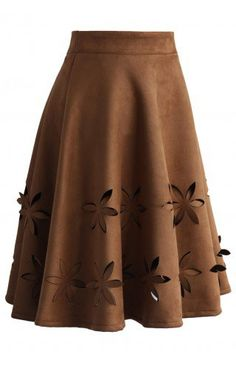 Dancing Flower Cutout Suede A-line Skirt in Tan - Retro, Indie and Unique Fashion