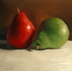 """MICHAEL NAPLES. """"Complementary Pears"""" Oil on Board. Approx 6""""x6"""" SOLD. """"You may recognize these two pears from the recent paintings. I love how the red and green colors make such great contrast. My favorite part is how the red pear is reflecting it's color on the green pear. That's what drew me to this composition."""""""