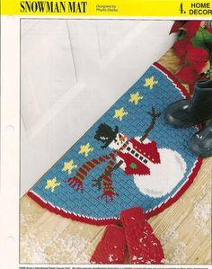 Snowman Mat Plastic Canvas Pattern by needlecraftsupershop on Etsy, $4.99 - plastic canvas