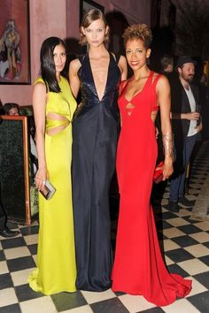 Michelle Ochs, Karlie Kloss, and Carly Cushnie, all in Cushnie et Ochs, at the brands afterparty at the Gramercy Park Hotel.