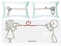 Amor Diy Embroidery, Cross Stitch Embroidery, Cross Stitch Patterns, Cross Stitch Pillow, Cross Stitch Heart, Sewing Ruffles, Wedding Cross Stitch, Loom Patterns, Filet Crochet