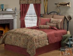 Santa Fe Native American Southwestern Bedding by Victor Mill is Made in the USA and is perfect for those who admire western bedding sets having a Native American print in orange and brown with a jazzy hint of southwestern style. Queen Size Comforter Sets, King Size Comforters, Satin Bedding, Luxury Bedding, Southwestern Bedding, Southwestern Style, Southwest Decor, Western Bedding Sets, Bed Frame Design