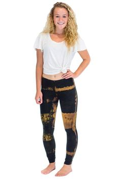 Black Brown Patch Leggings $24.00 Tie Dye Leggings, Black And Brown, Patches, Pajama Pants, Fabric, Cotton, Collection, Women, Fashion