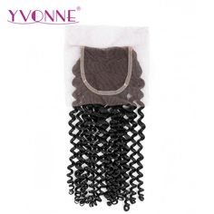 YVONNE Malaysian Curly Lace Closure 4x4 Free Part Human Hair Closure Natural Color Free Shipping