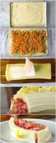 Rocambole Torta Fria | Eu amo essa receita, fiz semana passada e já quero de novo! (veja a receita passo a passo) #rocambole #rocambolefrio #tortafria #tastemade