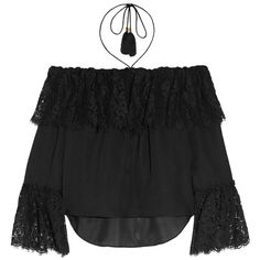 Rachel Zoe Cali off-the-shoulder lace and silk-chiffon top (9.915 ARS) ❤ liked on Polyvore featuring tops, blouses, lace halter top, off the shoulder tops, lace blouse, ruffle blouse and lace off the shoulder top