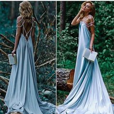 Sexy Pearl Back Dusty Blue Long Prom/Evening/Holiday Dress · Flosluna · Online Store Powered by Storenvy Elegant Dresses, Pretty Dresses, Formal Dresses, Long Dresses, Blue Wedding Dresses, Prom Dresses, Beautiful Gowns, Beautiful Outfits, Beautiful Moments