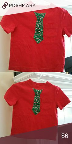 Old Navy pocket tee - boys 12-18 months Red with Xmas themed necktie appliqu? of candy canes. Adorable ?? Old Navy Shirts & Tops Tees - Short Sleeve